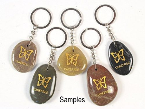 Inspirational Stone Keychain with Butterfly – Carefree