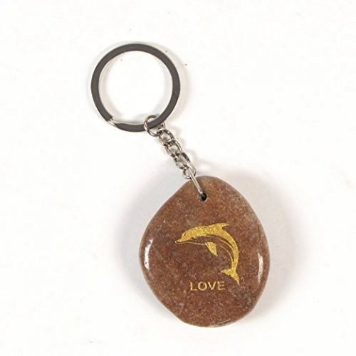Inspirational Stone Keychain with Dolphin – Love