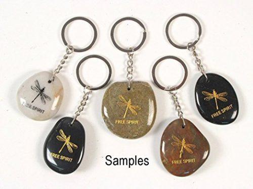 Inspirational Stone Keychain with Dragonfly – Free Spirit