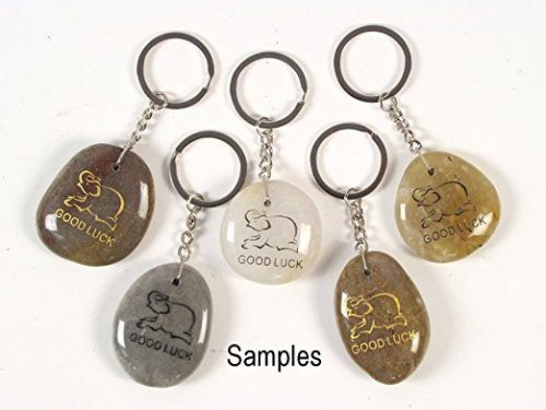 Inspirational Stone Keychain with Elephant – Good Luck