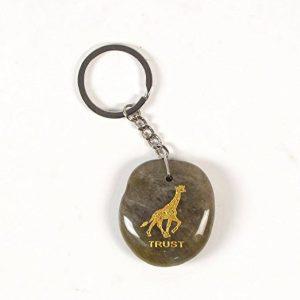 Inspirational Stone Keychain with Giraffe – Trust
