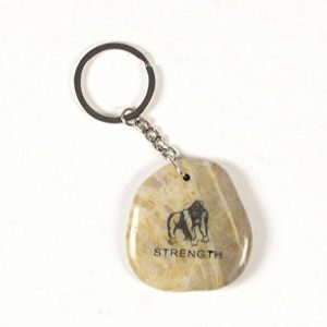 Inspirational Stone Keychain with Gorilla – Strength