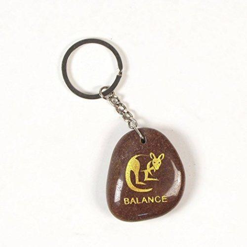 Inspirational Stone Keychain with Kangaroo – Balance