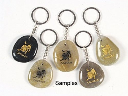 Inspirational Stone Keychain with Lion – Courage