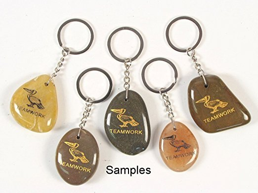 Inspirational Stone Keychain with Pelican – Teamwork