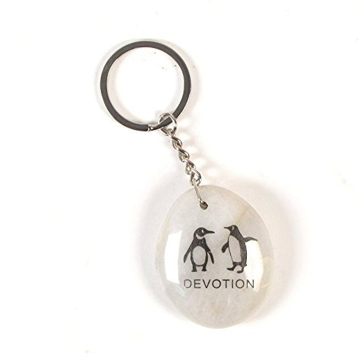 Inspirational Stone Keychain with Penguin – Devotion