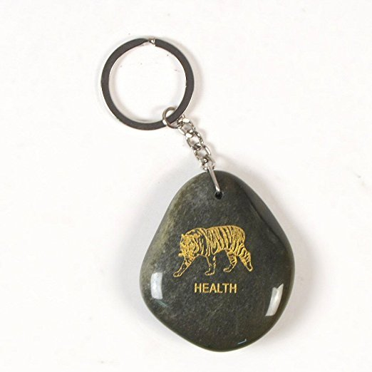 Inspirational Stone Keychain with Tiger – Health