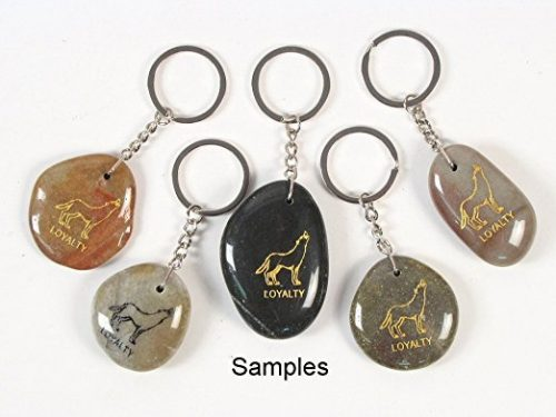 Inspirational Stone Keychain with Wolf – Loyalty